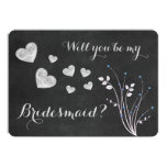 Chalkboard Beaded Floral Will You Be My Bridesmaid 5x7 Paper Invitation Card