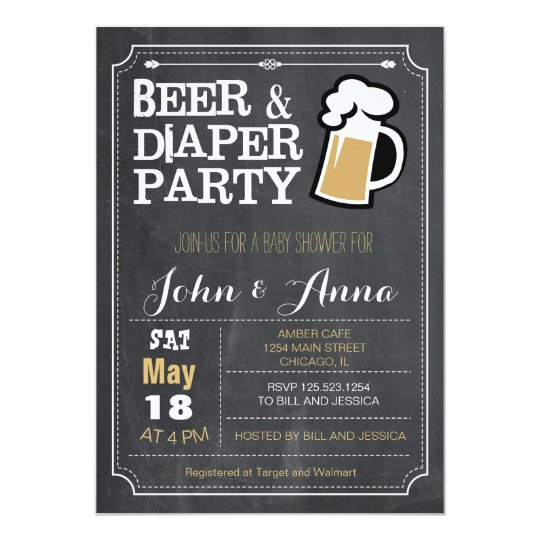 Chalkboard Beer And Diaper Couples Baby Shower Invitation
