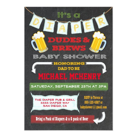 Chalkboard Beer And Diaper Party Invitations Zazzle Com