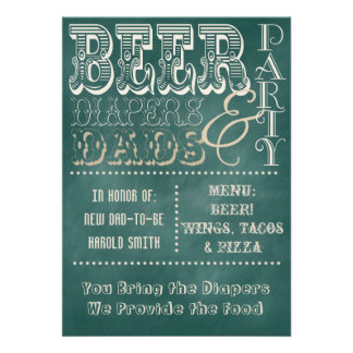 Chalkboard Beer Diapers and Dads Baby Shower Personalized Invitation
