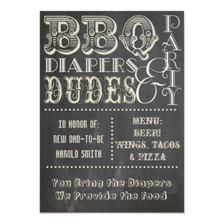 Chalkboard Beer Diapers and DUDES Baby Shower 2 Card