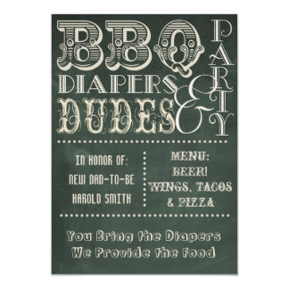 Chalkboard Beer Diapers and DUDES Baby Shower 5x7 Paper Invitation Card