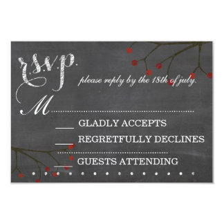 Chalkboard & Berries Wedding R.S.V.P Response Card