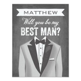 Chalkboard Best Man   Groomsman 4.25x5.5 Paper Invitation Card