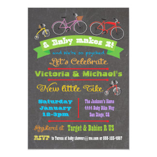 Chalkboard Bicycle Baby Shower Invitation