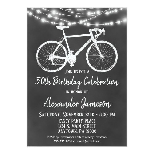 Chalkboard Bicycle Birthday Party Invitation Adult