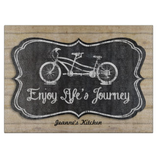 Chalkboard Bicycle for Two Wooden Fence Boards Cutting Boards