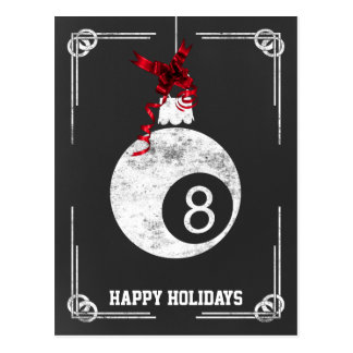 chalkboard billiard player Christmas Cards