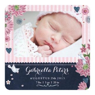"""Chalkboard Birth Announcement Stripe Girl 5.25"""" Square Invitation Card"""