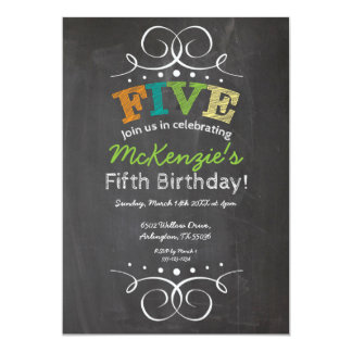 "Chalkboard Birthday Invitation 5"" X 7"" Invitation Card"