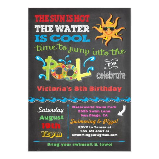 Chalkboard Pool Party Invitations & Announcements | Zazzle