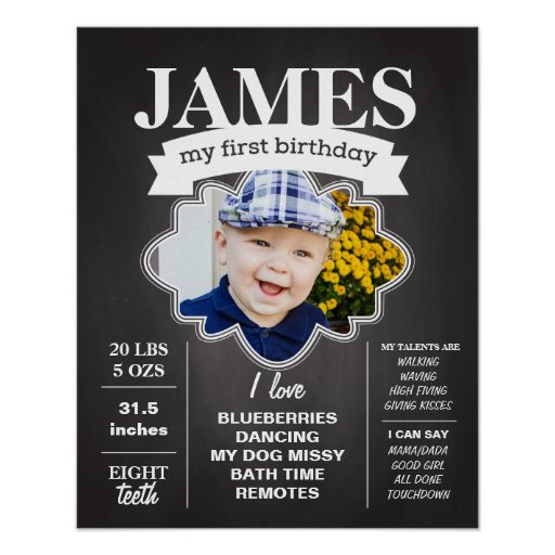 Chalkboard Birthday Poster with Photo