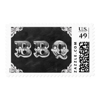 chalkboard black BBQ - barbecue postal stamps