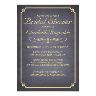 Chalkboard Black & Gold Bridal Shower Invitations Personalized Invitation