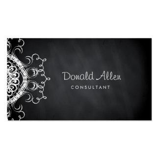 Chalkboard Black Vintage Professional Damask Double-Sided Standard Business Cards (Pack Of 100)