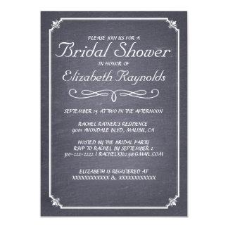 Chalkboard Black & White Bridal Shower Invitations Cards