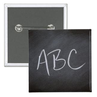 Chalkboard Blackboard Background ABC Retro Style 2 Inch Square Button