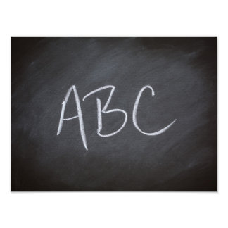 Chalkboard Blackboard Background ABC Retro Style Photo Print