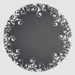 Chalkboard Blank Floral Swirl Faux Customize Text Classic Round Sticker