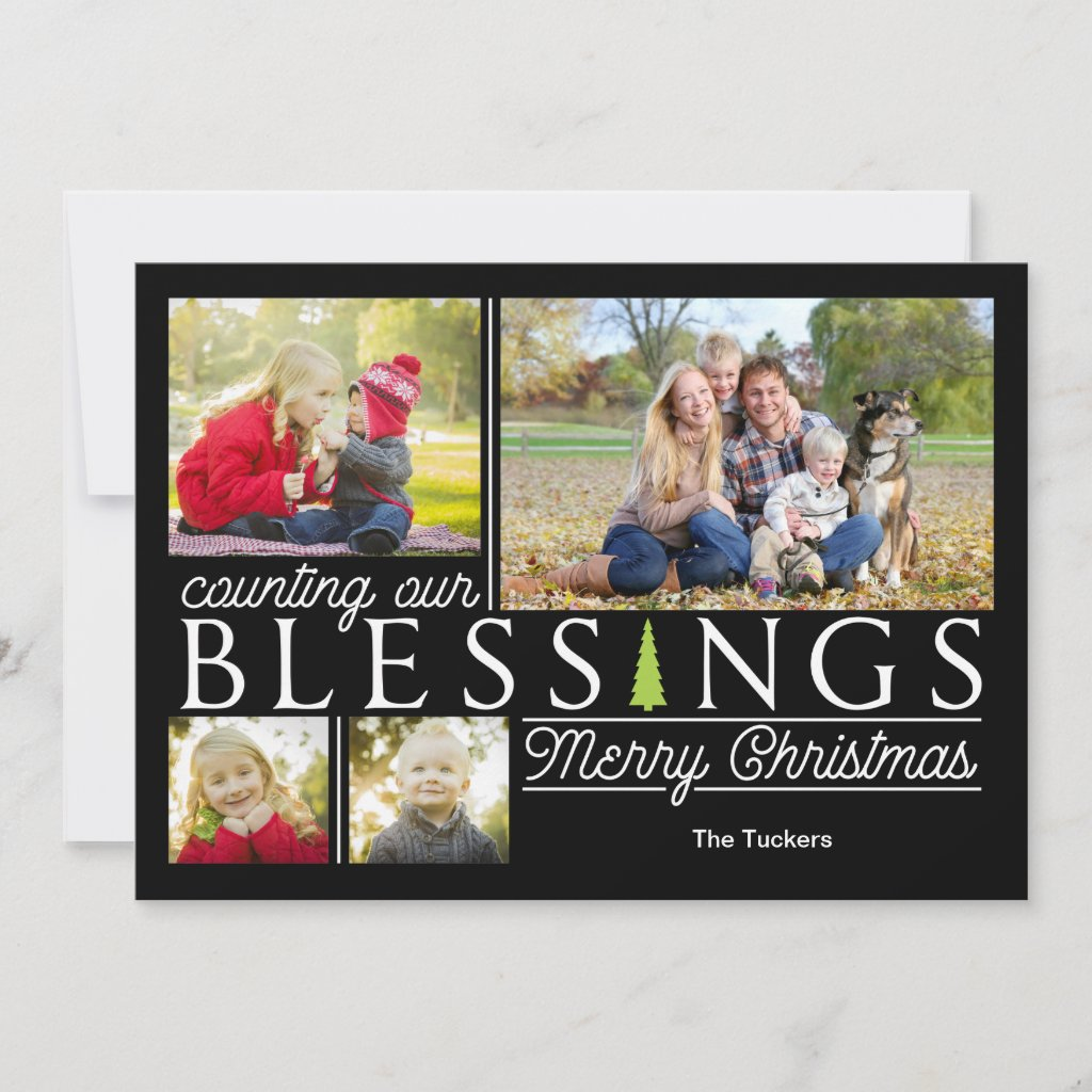 Chalkboard Blessings Christmas Photo Card