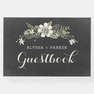 Chalkboard Bloom Wedding Guest Book