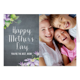 Chalkboard BloomMothers Day Photo Card Card