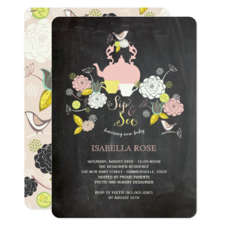Chalkboard Blooms & Birds Sip And See Baby Shower Card