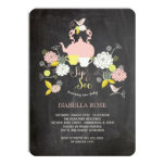 Chalkboard Blooms & Birds Sip And See Baby Shower Invitations