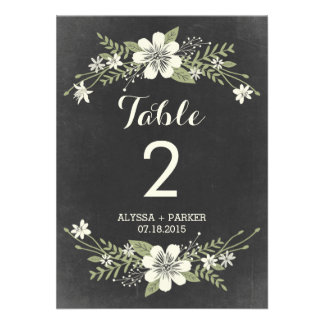 Chalkboard Blooms Double-Sided Table Number Card Invites