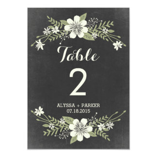 "Chalkboard Blooms Double-Sided Table Number Card 4.5"" X 6.25"" Invitation Card"