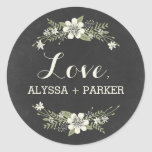 """Chalkboard Blooms Favor Sticker<br><div class=""""desc"""">Perfect as favor/gift tag stickers or as envelope seals! Matching invitation and other components available at berryberrysweet.com</div>"""