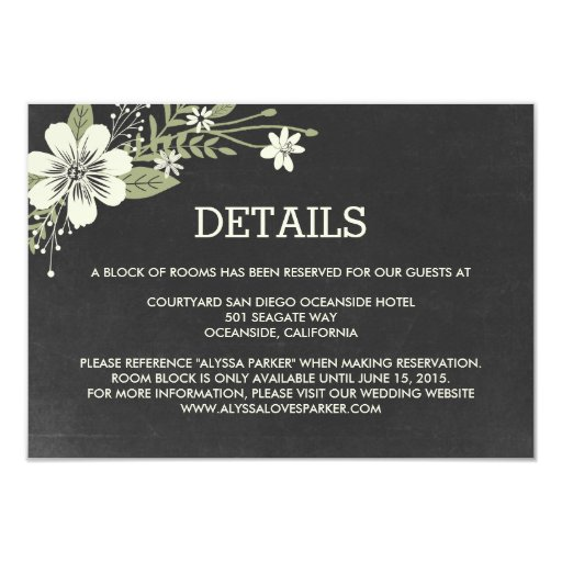 Chalkboard Blooms Wedding Enclosure Cards   Zazzle