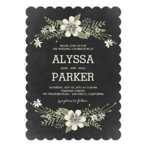 Chalkboard Blooms Wedding Invitations