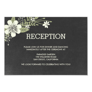 Chalkboard Blooms Wedding Reception Cards