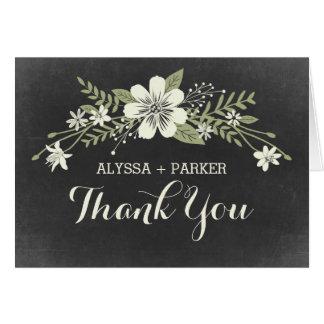 Chalkboard Blooms Wedding Thank You Card