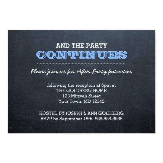 chalkboard blue after party invitation zazzle com