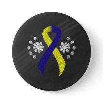 Chalkboard Blue and Yellow Awareness Ribbon Pinback Button