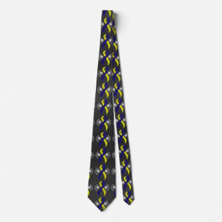 Chalkboard Blue and Yellow Ribbon Neck Tie
