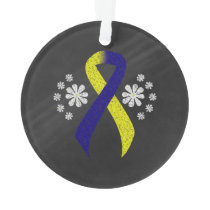 Chalkboard Blue and Yellow Ribbon Ornament