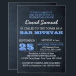 "Chalkboard Blue Bar Mitzvah Invitation<br><div class=""desc"">These casual chic invitations are perfect for any Bar Mitzvah celebration. Each line of text is fully customizable to say just what you want!</div>"