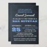 """Chalkboard Blue Bar Mitzvah Invitation<br><div class=""""desc"""">These casual chic invitations are perfect for any Bar Mitzvah celebration. Each line of text is fully customizable to say just what you want!</div>"""
