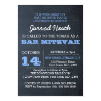 Chalkboard Blue Bar Mitzvah Invitation No Logo