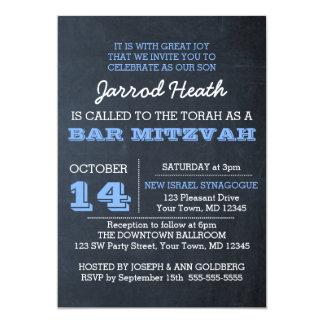 Chalkboard Blue Bar Mitzvah Invitation No Logo