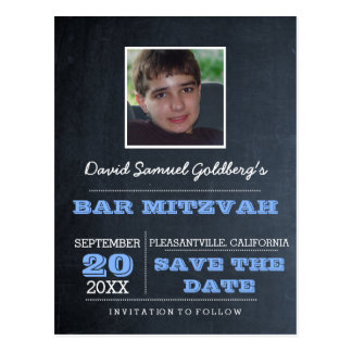 Chalkboard Blue Bar Mitzvah Photo Save the Date Postcard
