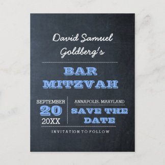 Chalkboard Blue Bar Mitzvah Save the Date Announcement Postcard
