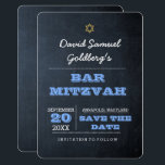 """Chalkboard Blue Bar Mitzvah Save the Date Card<br><div class=""""desc"""">Designed to coordinate with the entire Chalkboard Blue Bar Mitzvah Collection,  these Save the Date Cards announce your event with style. Each field is fully customizable to say just what you want!</div>"""