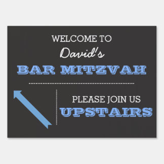 Chalkboard Blue Bar Mitzvah Sign
