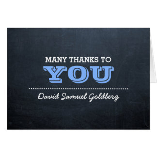 Chalkboard Blue Bar Mitzvah Thank You Note Card