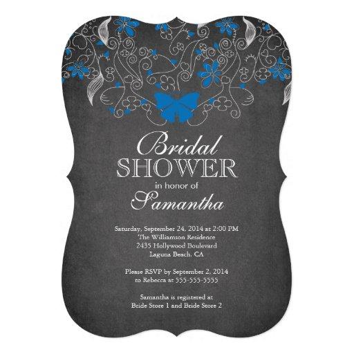 Chalkboard Blue Butterfly Floral Bridal Shower Custom Invitation