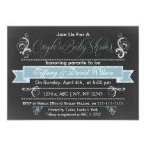 chalkboard blue Couple's Baby shower Invitation